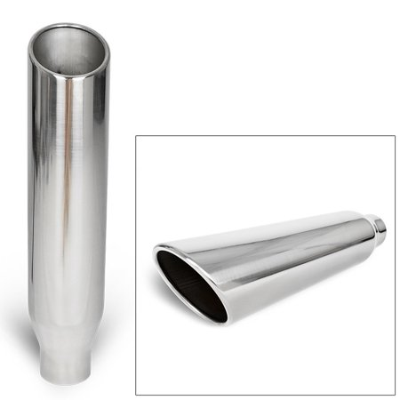 20' Polished Muffler (Universal Truck Angled Polished 18 inch Weld-On Exhaust Muffler Tip 2.5 In 4 Out)
