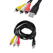 Unique Bargains USB Male to 3 RCA Male Adapter AV Componen Cord Black for VCR