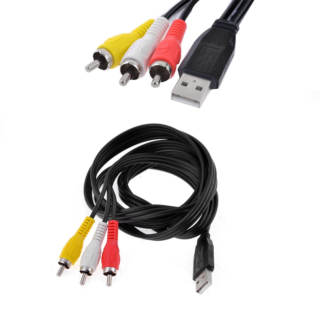 Unique Bargains USB Male to 3 RCA Male Adapter AV Componen Cord Black for VCR