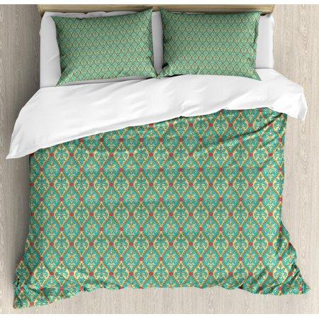 Turquoise Duvet Cover Set, Vintage Oval Shapes Floral Leaves Arrangement Flourishing Nature Illustration, Decorative Bedding Set with Pillow Shams, Blue Tan Pink, by