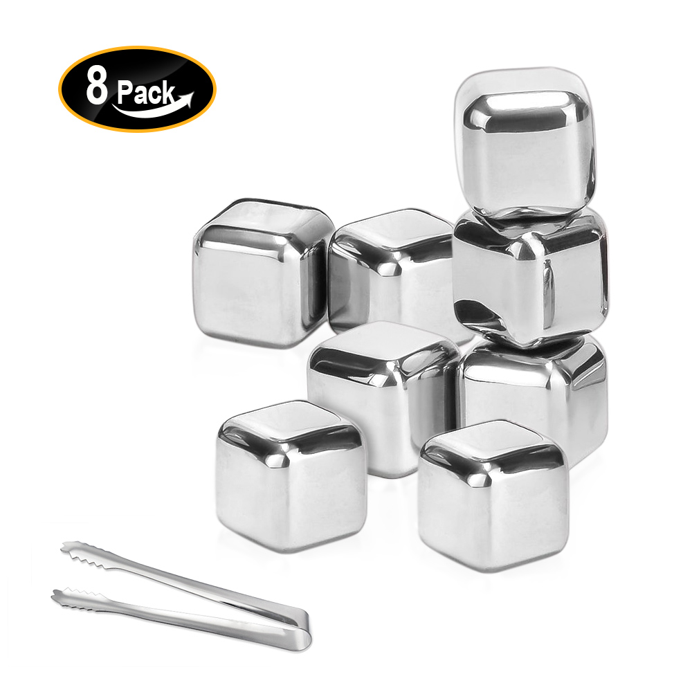 Set of 8 Whiskey Rocks Stones Stainless Steel Metal Ice Cube with Clip