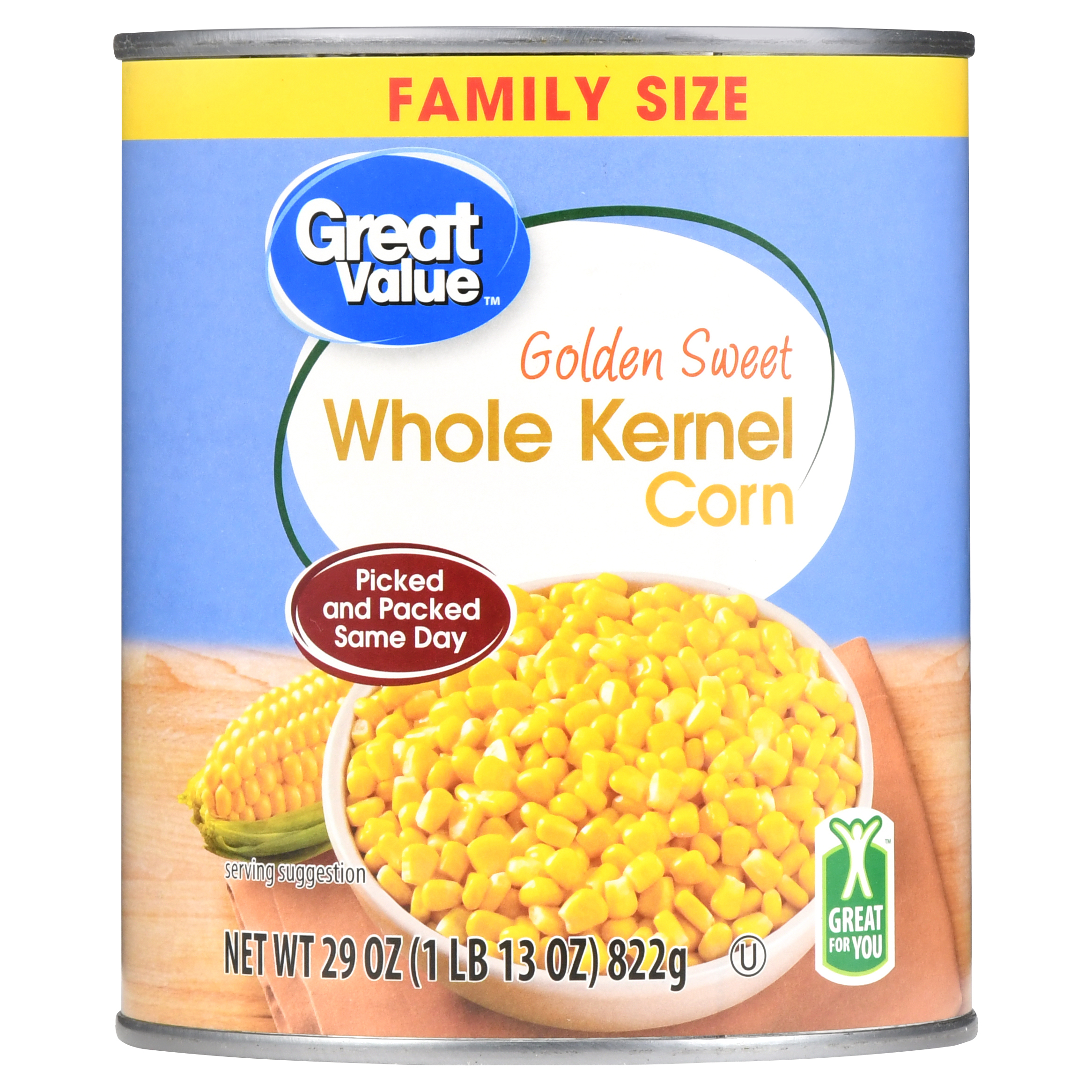 Great Value Golden Sweet Whole Kernel Corn, Family Size, 29 oz