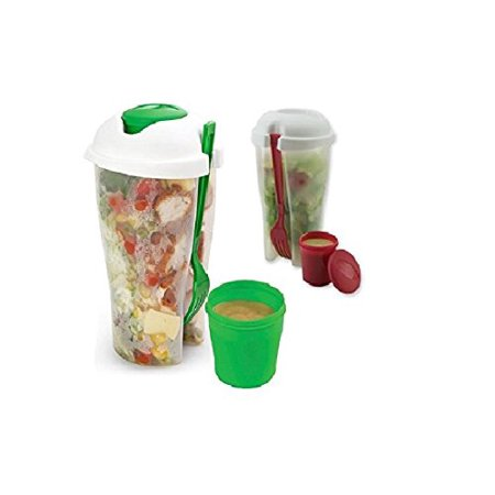 Go Salad Container (2 Pack Fresh Salad to Go Container Set with Fork and Dressing Holder )
