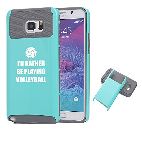 Samsung Galaxy Note 5 Shockproof Impact Hard Case Cover I'd Rather Be Playing Volleyball (Teal-Grey),MIP