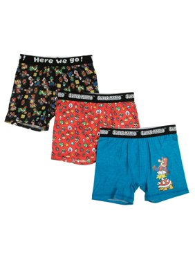 Nintendo Super Mario Bros., Boys Underwear, 3 Pack Underoos Poly Boxer Briefs (Little Boys & Big Boys)
