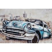 Gild Vintage Car in Blue Original Painting on Canvas