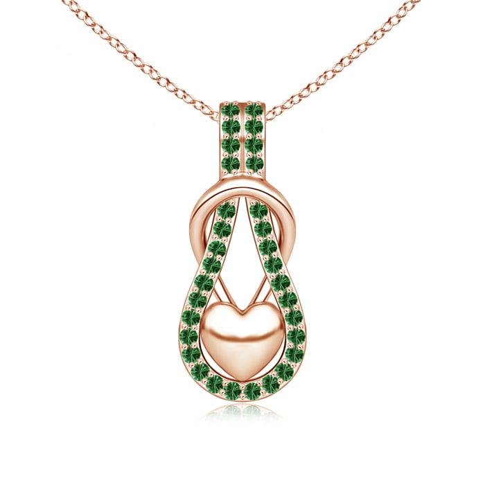 Angara Blue Tsavorite Infinity Knot Heart Necklace in White Gold sFStN