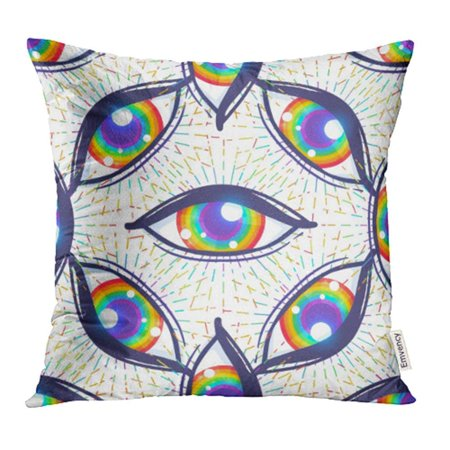 ARHOME Colorful Bisexual with Rainbow Colored Eyes Flag of LGBT Community Inside Eyeball Pillow Case Pillow Cover 18x18 inch Throw Pillow Covers - Rainbow Loom Halloween Eyeballs