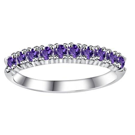 0.40 Ctw Amethyst Sterling Silver Wedding Ring For Women