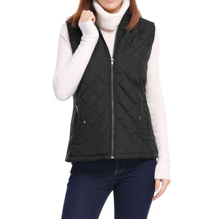 Women's Front Zip Up Stand Collar Mock Pockets Quilted Padded Vest Black S (US 6)