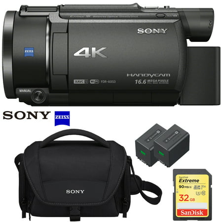 Sony FDR-AX53 4K Ultra HD Handycam Camcorder Video Recording Camera with Exmor R CMOS Sensor and 32GB Memory Card Case Extra Battery Pro Bundle