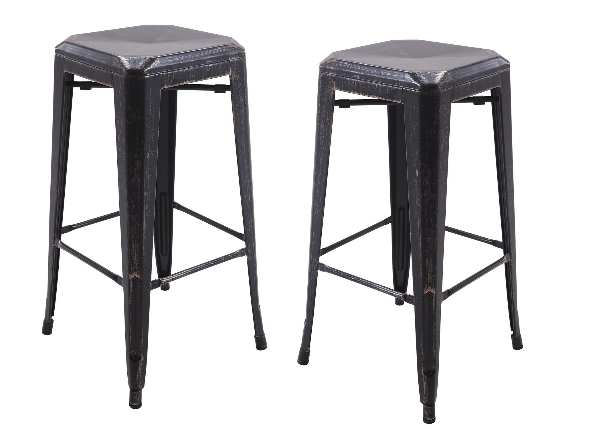 Vogue furniture direct metals 30 backless metal stool in antique matt blackcopper fully assembled vf1671006 walmart com
