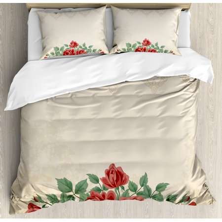 Super Shabby Chic Duvet Cover Set Vintage Glamour Background With Red Rose Love And Attraction Symbol Delicacy Decorative Bedding Set With Pillow Shams Home Remodeling Inspirations Basidirectenergyitoicom