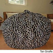 Faux Animal Fur Washable 36-inch Bean Bag Chair Tan Giraffe