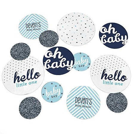 Hello Little One - Blue and Silver - Boy Baby Shower Party Table Confetti Set  - 27 Count