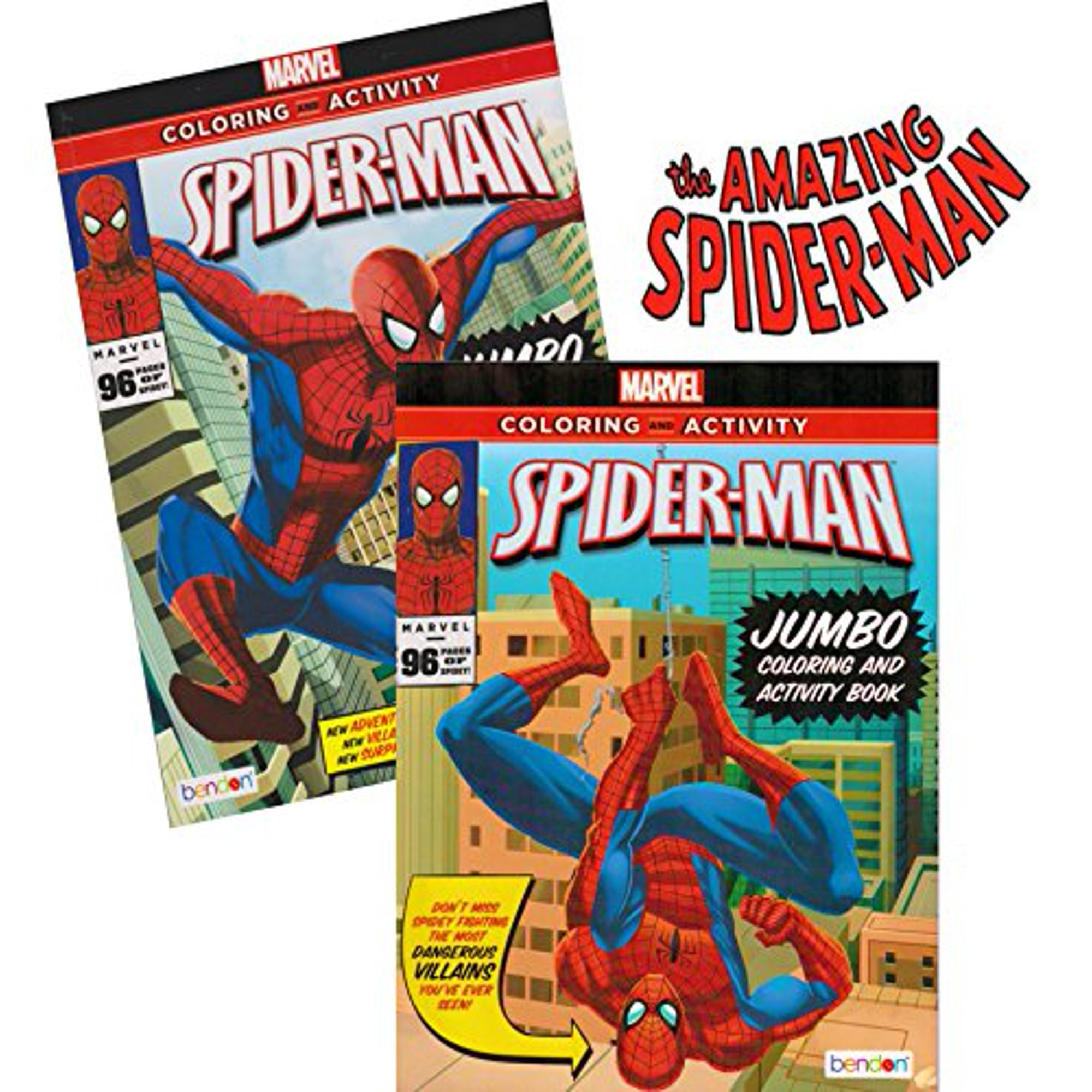 Spider-man Coloring & Activity Book Set (2 Books ~ 96 pgs each) by Marvel  Comics