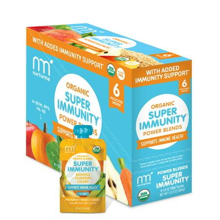 NurturMe Organic Power Blend Super Immunity: Banana + Pumpkin + Celery (3.5 oz) - 6 Pack ()
