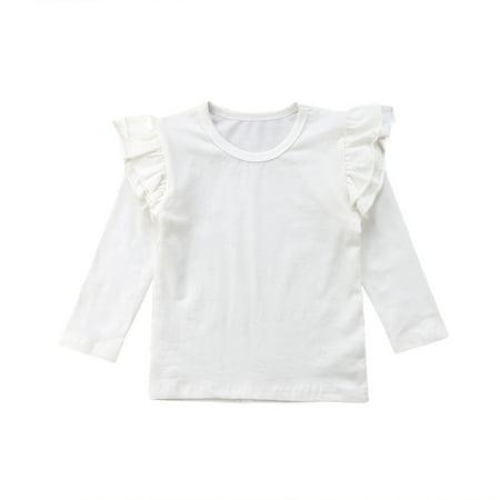 Little Baby Girl Cotton Ruffle Long Sleeve T-Shirt Blouse Spring Autumn Tops Tee (3-4Y, (Girls Long Sleeve Shirt Top)