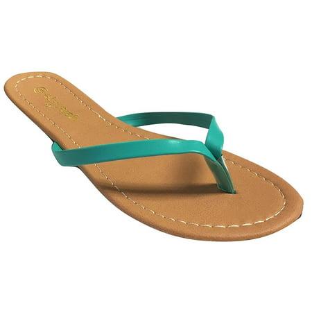 5c43e68ba5e44 Womens Patent Faux Leather Flip Flops T Strap Thong Flip Flop Sandal ...