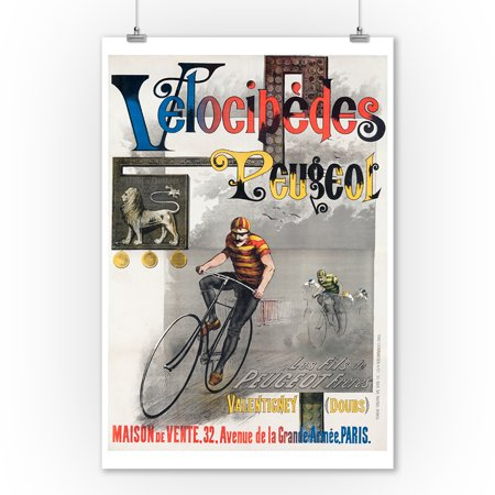 Velocipe des Peugeot Vintage Poster France (9x12 Art Print, Wall Decor Travel Poster)