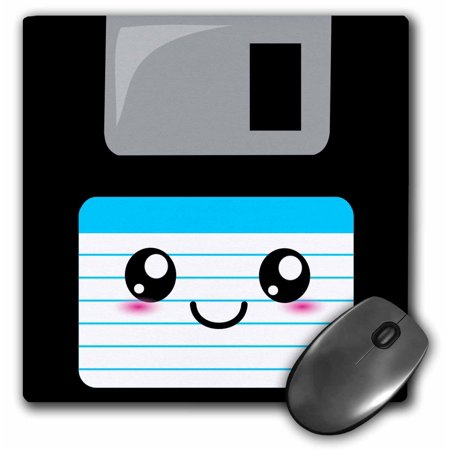 3dRose Kawaii Cute Happy Floppy Disk - Retro Ninties computer disk - Neat Anime cartoon with blue label, Mouse Pad, 8 by 8 inches
