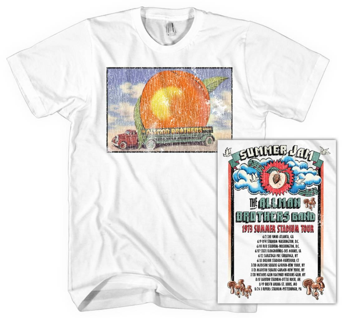 Allman Brothers Men's  Distressed Eat A Peach T-shirt White