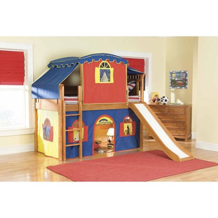 Bolton Furniture Bennington Twin Honey Low Loft Bed With Blue Yellow