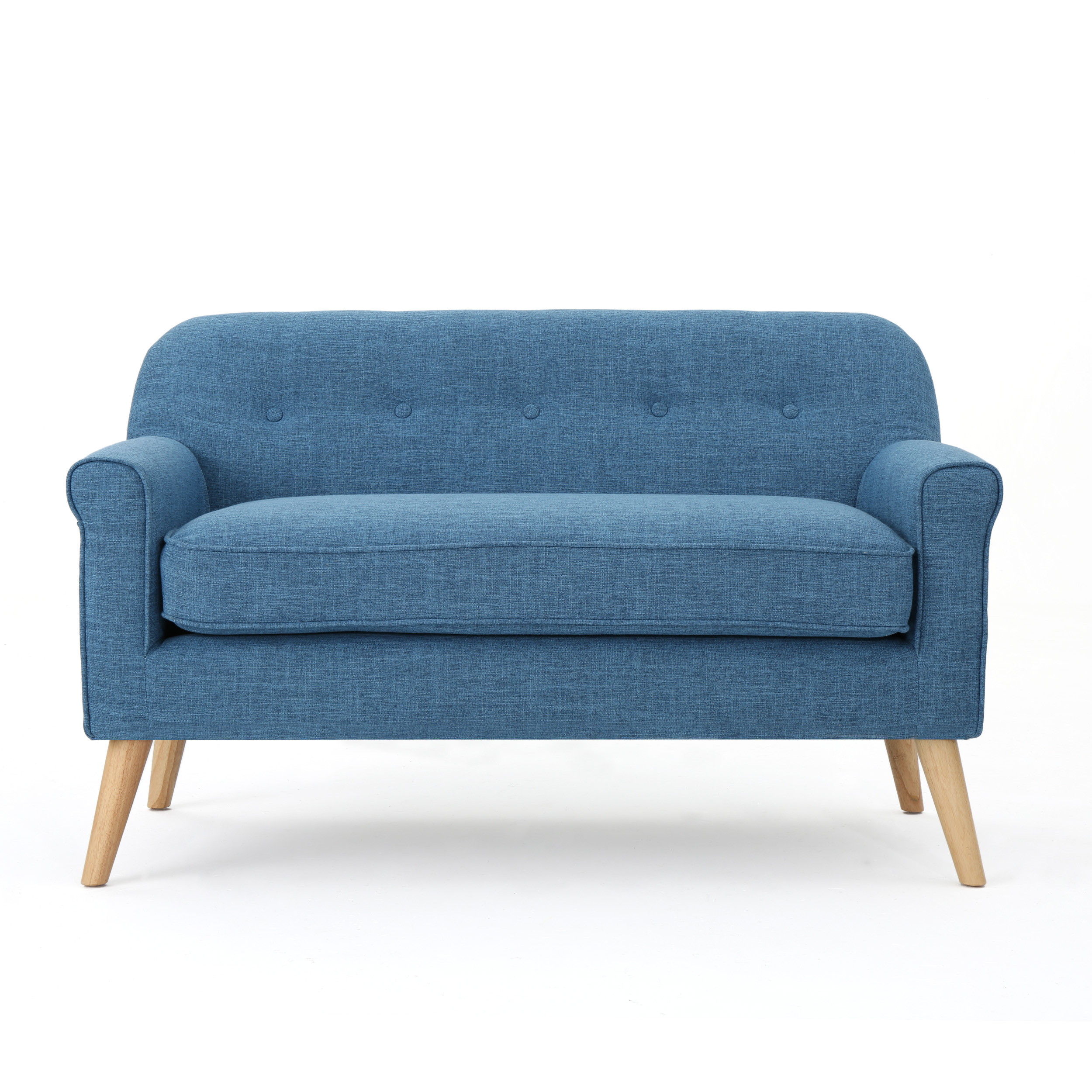 Mia Mid Century Modern Loveseat, Muted Blue