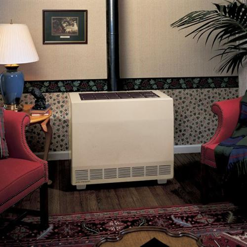 "Empire Gas Fired Room Heater, NG, BtuH Output 35000, 5"" Vent, Width 34"", Height 29-5/8"", Depth 16"" - RH50CNAT"