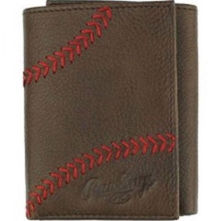 Leather Baseball Stitch - Rawlings Baseball Tri-Fold Wallet Credit Card Home Run Stitch Leather RLG801-200