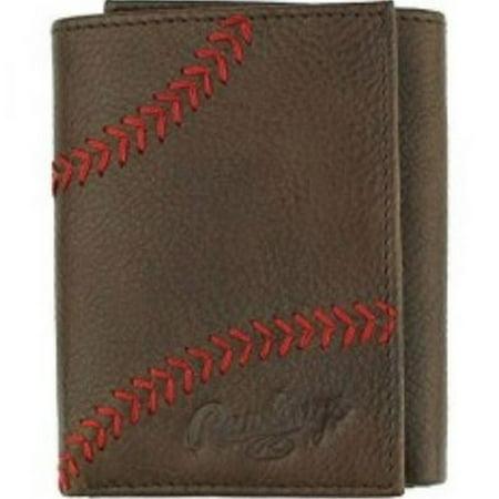 Rawlings Baseball Tri-Fold Wallet Credit Card Home Run Stitch Leather