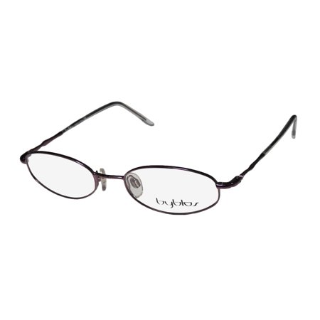 New Byblos 778 Mens/Womens Designer Full-Rim Shiny Plum Popular Shape Oval Affordable Hip Frame Demo Lenses 50-18-135 Spring Hinges (Eyeglasses For Oval Face Shape)