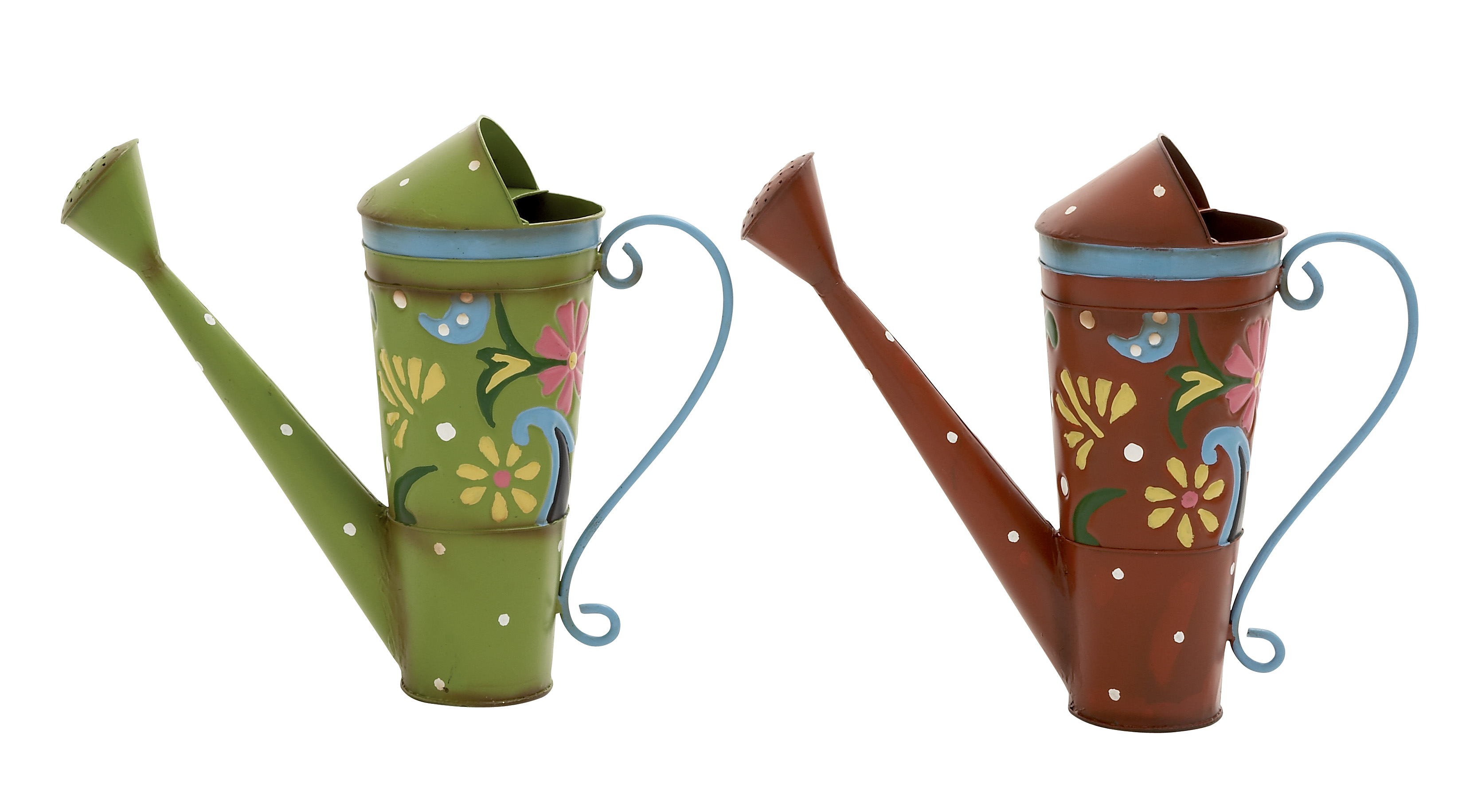 Attractively Designed 2 Assorted Metal Watering Can by Benzara