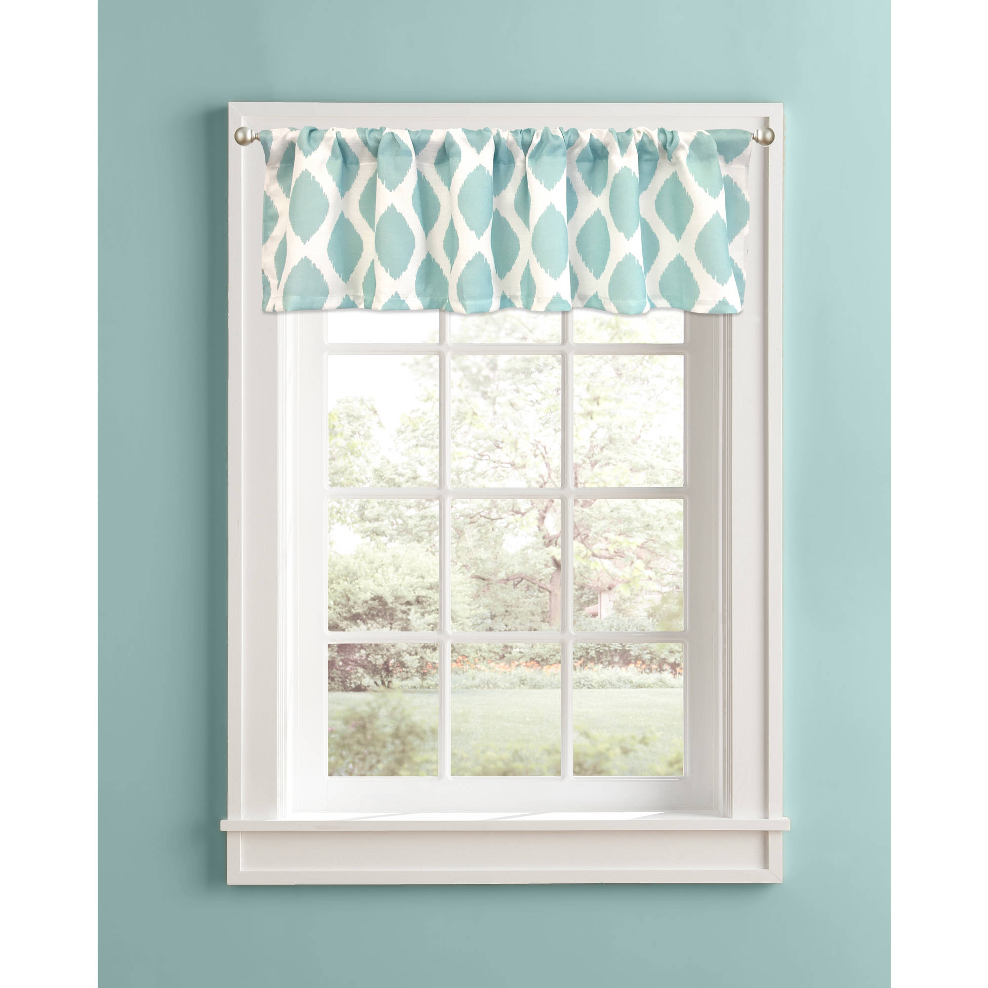 Better Homes and Gardens Aqua Ikat Diamonds Valance by Colordrift LLC