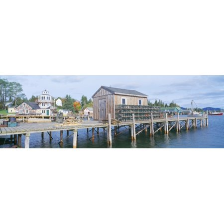 Stonington Harbor (Lobster Village in Autumn Southwest Harbor Stonington Maine Canvas Art - Panoramic Images (27 x 9) )