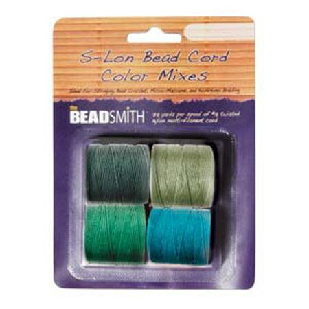4 Spools Super-lon #18 Nylon Beading Jewelry Stringing Cord S-lon Evergreen (Evergreen Mix)
