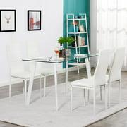 Ktaxon Glass Metal 5 Piece Dining Table Set 4 Chairs Kitchen Room Breakfast Furniture