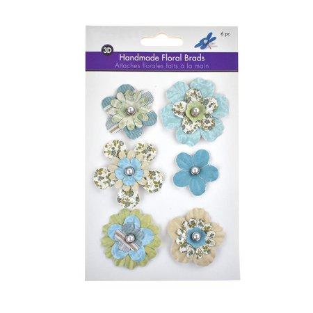 - Paper Craft Floral Brads, 6-Piece, Meadow