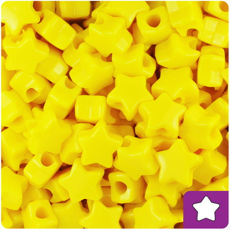 BeadTin Bright Yellow Opaque 13mm Star Pony Beads (250pcs)](Plastic Star Beads)