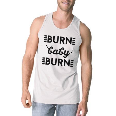 00973f3d 365 Printing - Burn Baby Mens White Funny Workout Cotton Gym Tank Top Funny  Gifts - Walmart.com