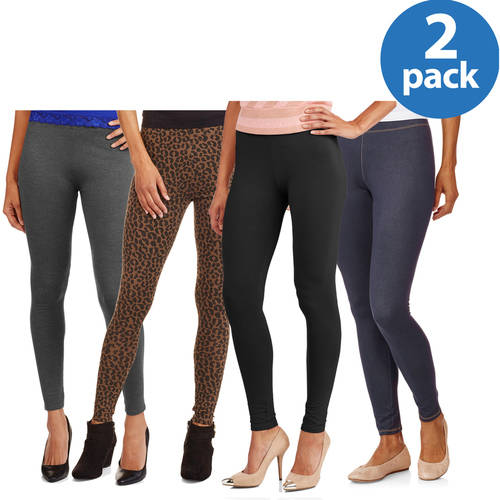 Faded Glory Women's Essential Knit Legging 2 Pack Value Bundle