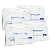 "Paper Toilet Seat Covers - Disposable - Half-Fold Toilet Seat Cover Dispensers - White - 4 Pack of 250-14""L x0.1""W x 16""H"