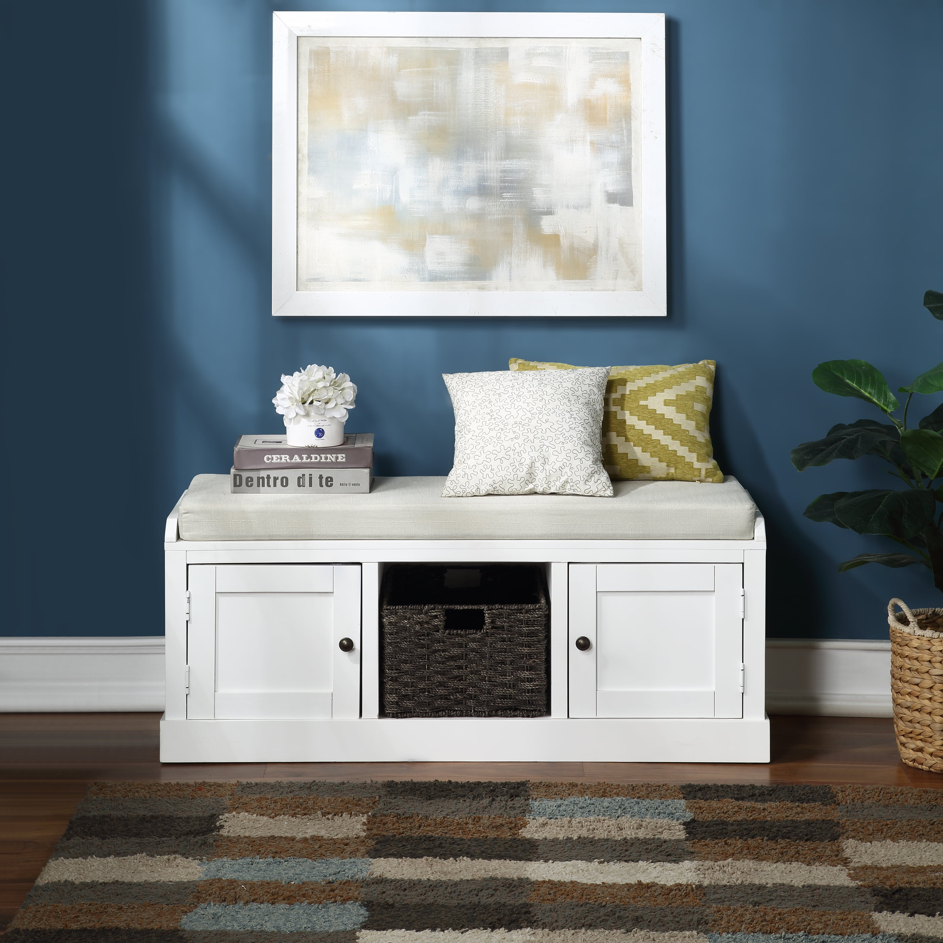 White Entryway Storage Bench Yofe Storage Bench With 2 Cabinets And 1 Basket Wood Entry Storage Bench With Cushion Rustic Shoe Bench Storage Bench For Entryway Hallway Mudroom Living Room R3472