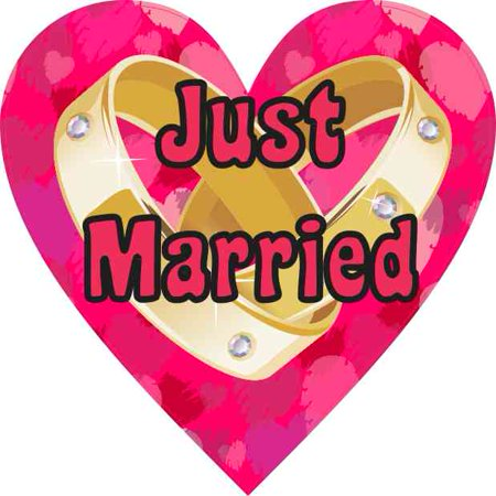 4in x 4in Just Married Heart Decal Car Door Vinyl Decal Bumper - Just Married Sign For Car