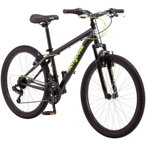 "24"" Mongoose Excursion Boys' Mountain Bike, Black"