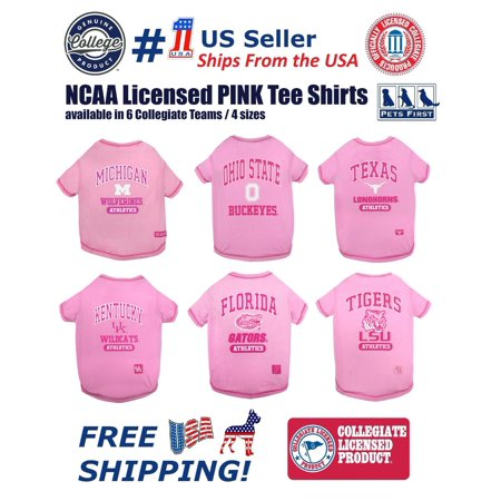 Pets First Collegiate Florida Gators PINK Tee Shirts for dogs & Cats - Licensed, available in 6 Collegiate Teams