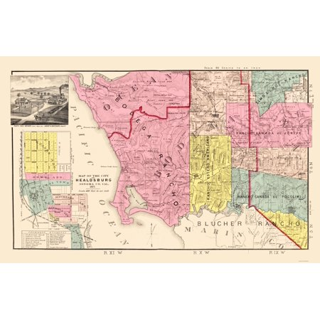 Old County Map   Sonoma  Southwest Coastal California Landowner   Thompson 1877   23 X 35 51