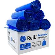 Reli. 33 Gallon Recycling Bags (120 Bags) Blue Recycling Trash Bags 30 Gallon - 33 Gallon Garbage Bags, Trash Bags 30-35 Gal