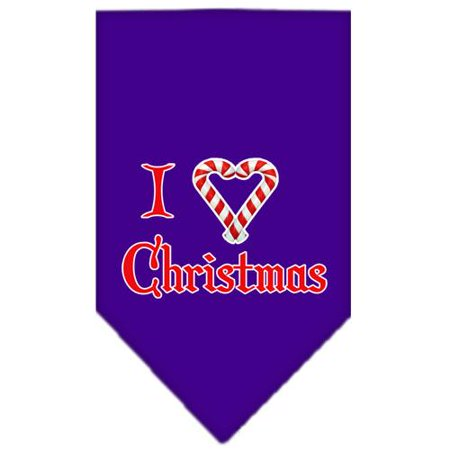 Heart Christmas Screen Print Bandana Purple Large