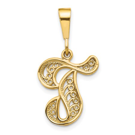14kt Yellow Gold Initial Monogram Name Letter T Pendant Charm Necklace Fine Jewelry Ideal Gifts For Women Gift Set From Heart ()
